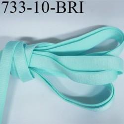 Elastique plat largeur 10 mm couleur bleu vert lagon brillant superbe  très belle qualité haut de gamme prix au mètre