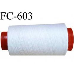 CONE de 2000 mètres  de fil polyester fil n° 60 couleur blanc   bobiné en France