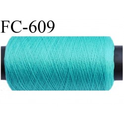 Bobine de 500 mètres de fil très résistant n° 35 polyester continu vert brillant superbe très solide bobiné en France