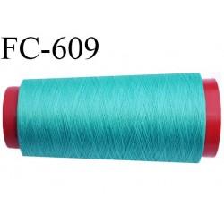 Cone de 1000 mètres de fil très résistant n° 35 polyester continu vert brillant superbe très solide bobiné en France