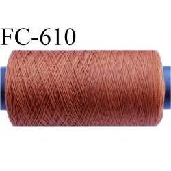Bobine de 500 mètres de fil mousse polyamide fil n°120 couleur terracotta  bobiné en France