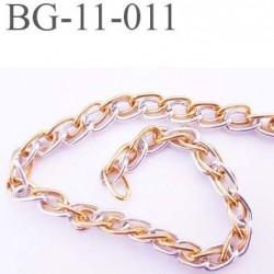 chaine chainette en métal aluminium largeur 6 mm pour soutien gorge couleur argent et or prix au mètre