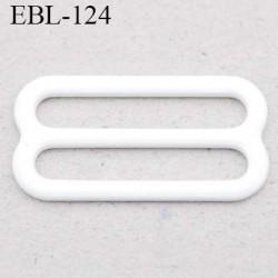 boucle de réglage 20 mm  réglette métal plastifié blanc brillant pour soutien gorge largeur intérieur 20 mm  haut de gamme