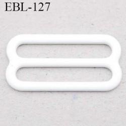 boucle de réglage 14 mm  réglette métal plastifié blanc brillant pour soutien gorge largeur intérieur 14 mm  haut de gamme