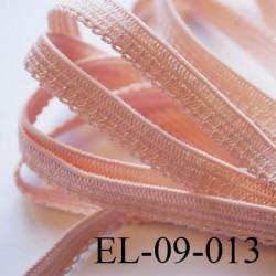 élastique picot plat boucles couleur pèche core saumoné lumineux largeur 9 mm prix au mètre