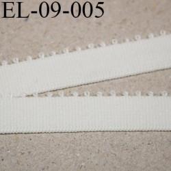 élastique  largeur 9 mm bretelle picot plat gros grain fin boucles couleur naturel  prix au mètre