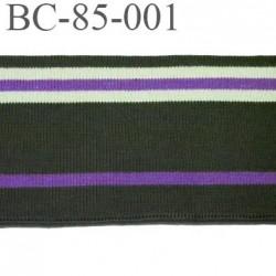 Bord-Côte  85 mm jersey synthétique bord cote largeur 85 mm longueur 1 mètre couleur  vert  kaki violet violine vert d'eau