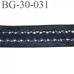 galon ruban  30 mm couleur noir façon cuir souple  avec fil gris argent et noir style lurex très joli prix au mètre