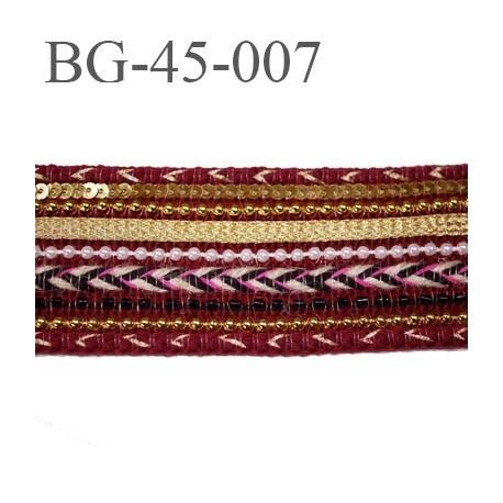 Galon ruban  largeur 45 mm couleur bordeaux perle or et blanc strass sequin très beau souple prix au mètre