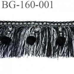 galon frange largeur 160 mm avec pompon couleur noir et gris argenté haut de gamme prix au mètre
