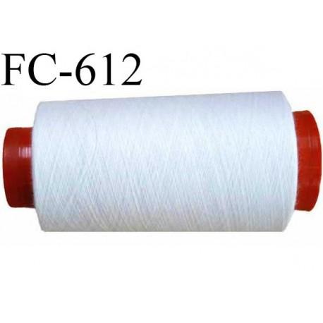 CONE de 2000 m de fil polyester fil n° 50 couleur blanc  longueur de 2000 mètres bobiné en France