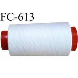 CONE de 2000 m de fil polyester fil n° 40 couleur blanc  longueur de 2000 mètres bobiné en France