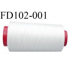 Destockage Cone de 2000 m  de fil mousse polyester  fil n° 165 couleur  blanc longueur 2000 mètres  bobiné en France