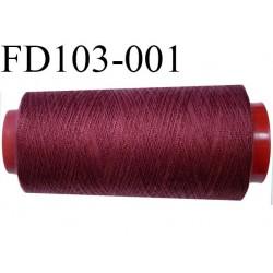 Destockage Cone 2000 m de fil  polyester  fil n°35 couleur lie de vin ou bordeaux clair cone 2000 mètres bobiné en France