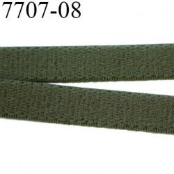 élastique plat  largeur 8 mm couleur vert kaki militaire vendu au mètre