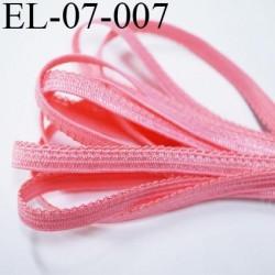 élastique picot plat boucles  couleur rose corail superbe couleur largeur 7 mm prix au mètre