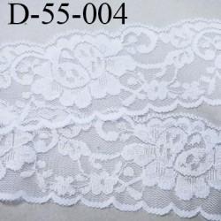 Dentelle blanche largeur 55 mm synthétique lycra élastique couleur blanc lumineux motif fleur prix au mètre