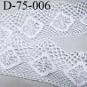 dentelle crochet 75 mm  100% coton  couleur blanc largeur 75 mm prix au mètre