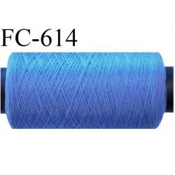 Bobine de 500 mètres de fil mousse polyamide fil n°120 couleur bleu  bobiné en France