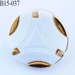 bouton 15 mm couleur blanc et doré diamètre 15 millimètres