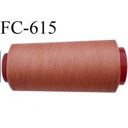 Cone de 5000 mètres de fil mousse polyamide fil n°120 couleur terre de feu  bobiné en France