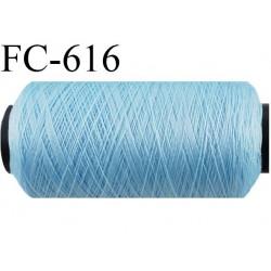 Bobine de 500 m de fil élastique couleur bleu ciel spécial pour aiguille surjeteuse et canette machine fil n° 120