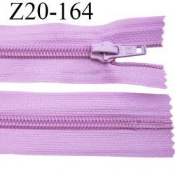 fermeture zip à glissière  longueur 20 cm couleur lilas parme non séparable zip nylon largeur 3,2 cm largeur du zip 6.5 mm