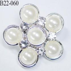 Bouton 22 mm en forme de fleur avec perles incrustées nacré haut de gamme  en métal diamètre 22 mm nacré et acier chromé