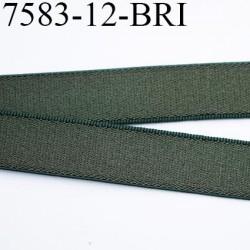 Elastique bretelle 12 mm plat  couleur vert trefle kaki  brillant superbe  très belle qualité haut de gamme 10 mm  prix au mètre