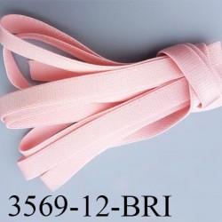 Elastique bretelle plat largeur 12 mm couleur rose eden brillant superbe  très belle qualité haut de gamme prix au mètre