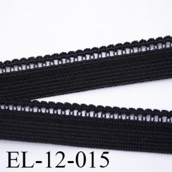 élastique picot boucle  plat largeur 12 mm couleur noir  largeur de bande 9 mm largeur de la boucle 3 mm