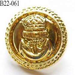 bouton 22 mm couleur or doré brillant en pvc très joli ancre marine et couronne la couleur   diamètre 22 mm