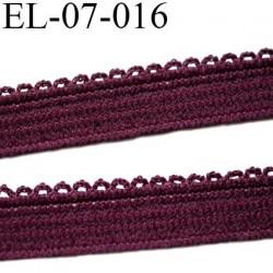 élastique picot 7 mm lingerie et culottes plat boucles  couleur bordeaux superbe  haut de gamme largeur 7 mm prix au mètre