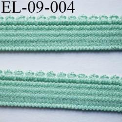 élastique picot plat boucles couleur vert lumineux largeur 9 mm prix au mètre