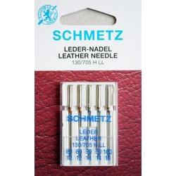 Aiguille Schmetz CUIR LEDER LEATHER 130/705 H-LL  de 80/12 a 100/16 la boite assortie de 5 aiguilles