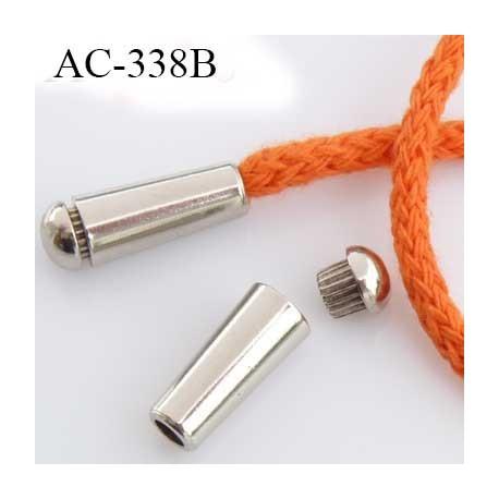 Destockage 2 ème choix petites marque  arrêt stop cordon avec embout bouchon  métal couleur chromé    prix à l'unité