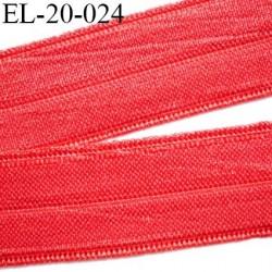 élastique 20 mm rouge brillant plat fin pré plié souple largeur 20 mm,  pour , tissus en lycra ou extensibles  prix au mètre