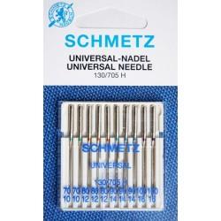 Aiguille Schmetz Universal 130/705 H de 70/10 a 100/16 la boite assortie de 10 aiguilles