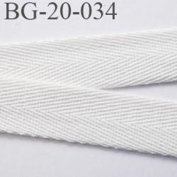 Biais sergé  100 % coton largeur 20 mm couleur naturel souple et très doux