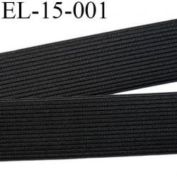 élastique 15 mm plat  belle qualité couleur noir largeur 15 mm prix  au mètre