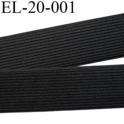 élastique plat souple  largeur 20 mm couleur noir vendu au mètre