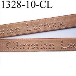 Elastique bretelle 10 mm  ou lingerie couleur chair en surpiqure inscription Christian Lacroix largeur 10 mm  prix au mètre