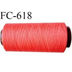 Cone de 1000 mètres fil mousse polyamide n° 120 couleur corail longueur de 1000 mètres bobiné en France