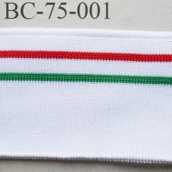 Bord-Côte  75 mm jersey synthétique bord cote largeur 75 mm longueur 1.10 mètre couleur blanc vert  rouge prix a la pièce
