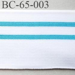 Bord-Côte 65 mm bord cote jersey synthétique largeur 65 mm longueur 1.20 mètre couleur  blanc et bleu turquoise prix pièce