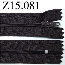 fermeture longueur 15 cm couleur marron foncé non séparable zip nylon largeur 2,5 cm