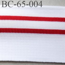 Bord-Côte 65 mm bord cote jersey synthétique largeur 65 mm longueur 1.20 mètre couleur  blanc et rouge prix a la pièce