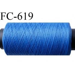 bobine de fil 500 m mousse polyester n° 110 polyester couleur bleu  longueur 500  mètres bobiné en France