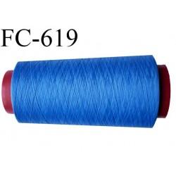 Cone de fil 2000 m mousse polyester n° 110 polyester couleur bleu  longueur 2000  mètres bobiné en France