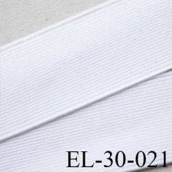 Elastique 30 mm plat très très  belle qualité couleur blanc brillant  forte élasticité style brodé largeur 30 mm prix au mètre